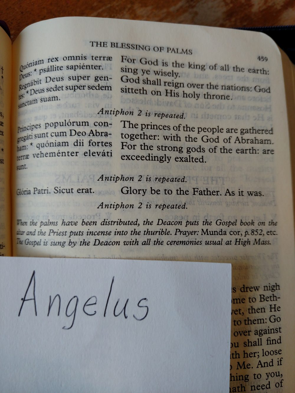1962 Missal Palm Sunday pages - The Roman Catholic Daily Missal with Kyriale in Gregorian Notation, Angelus Press, Palm Sunday Blessing of the Palms.
