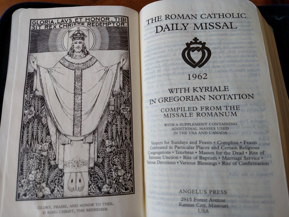 1962 Missal - The Roman Catholic Daily Missal with Kyriale in Gregorian Notation, Angelus Press, title pages.