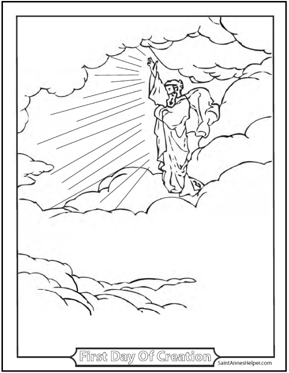 I AM The Lord Thy God Ten Commandments Coloring Pages: First Day Of Creation