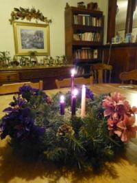 Fourth Sunday Of Advent - Light three purple candles and one rose candle.