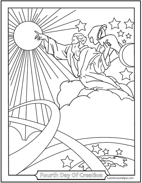 Catholic Bible Story Coloring Pages: Fourth Day Of Creation Coloring Page