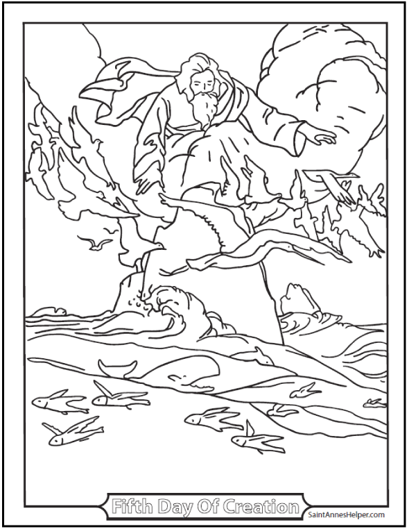 Catholic Bible Story Coloring Pages: Fifth Day Of Creation Coloring Page