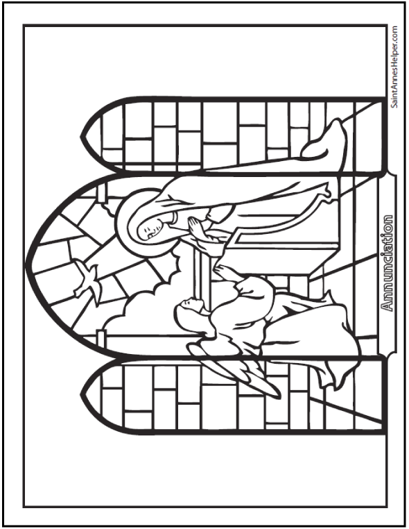 Annunciation Stained Glass Coloring Page