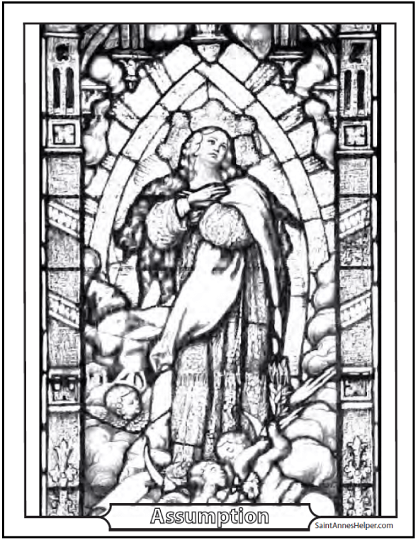 Assumption of Mary Stained Glass Coloring Page