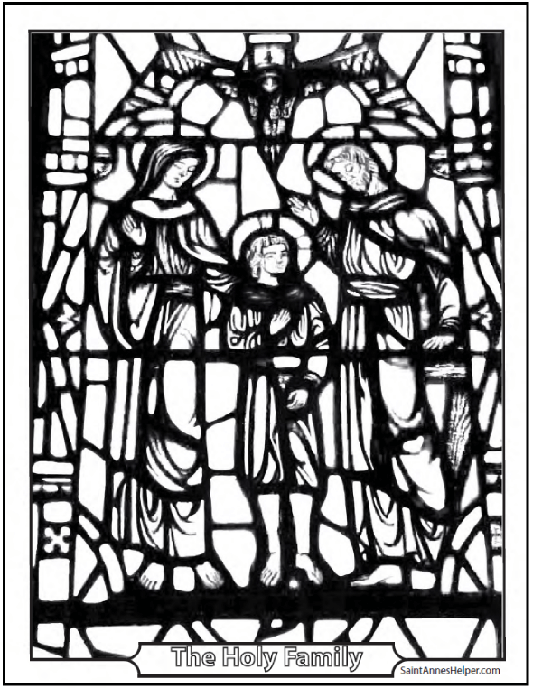 Printable Bible Story Coloring Page: The Holy Family - Jesus, Mary, and Joseph Stained Glass