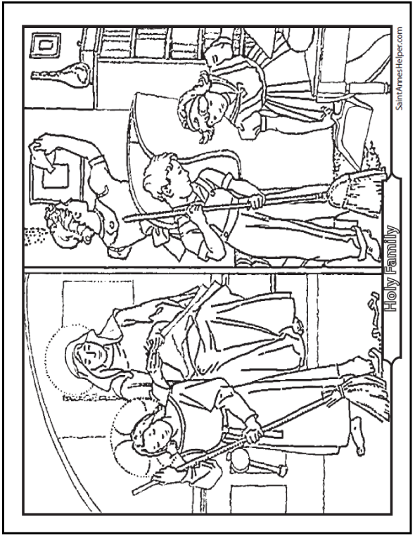 Printable Bible Story Coloring Page: Model Of Catholic Life - Jesus, Mary, and Joseph