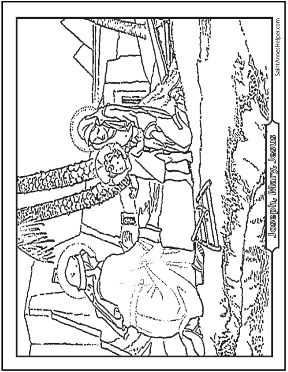 Printable Bible Story Coloring Page: The Holy Family Flight Into Egypt