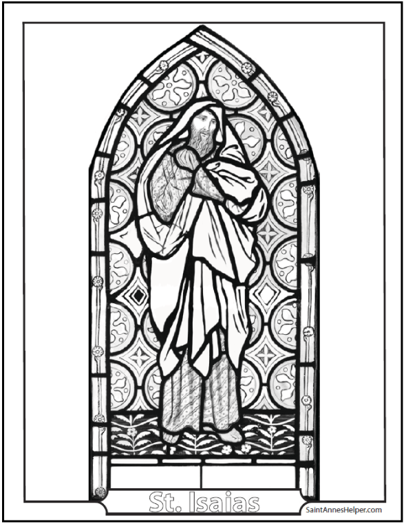 Printable Old Testament Bible Story Coloring Pages: Stained Glass Isaias And Jeremias Prophets
