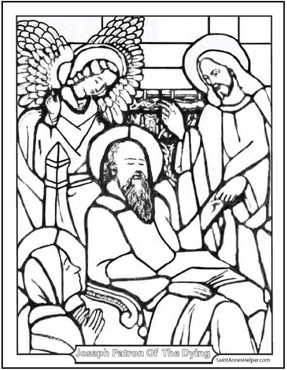 Stained Glass Coloring Page of Jesus at Joseph's death.