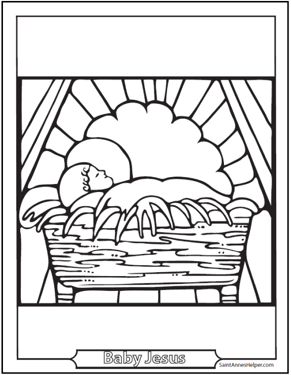 Printable Bible Story Coloring Page: Baby Jesus In The Crib