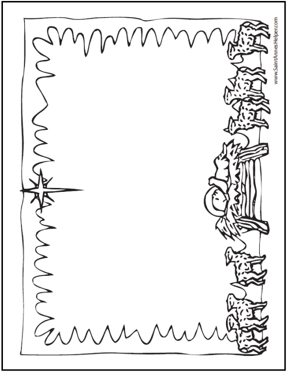 Free Bible Coloring Pages: Nativity Stationery - Use Booklet Mode To Print A Christmas Card