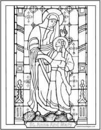 Saint Anne and Mary Stained Glass Coloring Pages