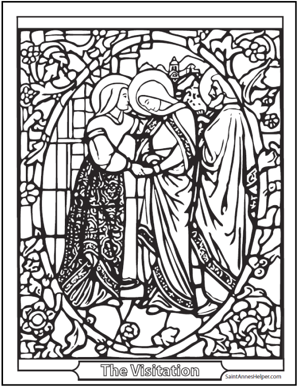 Visitation Stained Glass Coloring Page: Mary visits Elizabeth with Joseph.