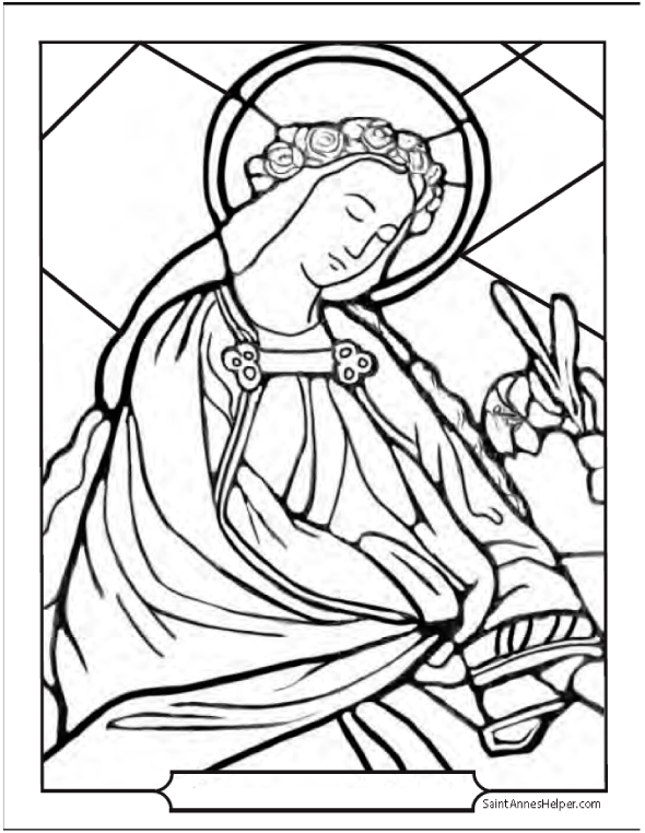 Female Saint Stained Glass Coloring Page
