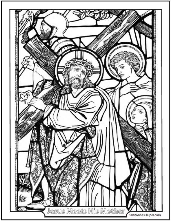 Printable Bible Story Coloring Page: Jesus Carries His Cross