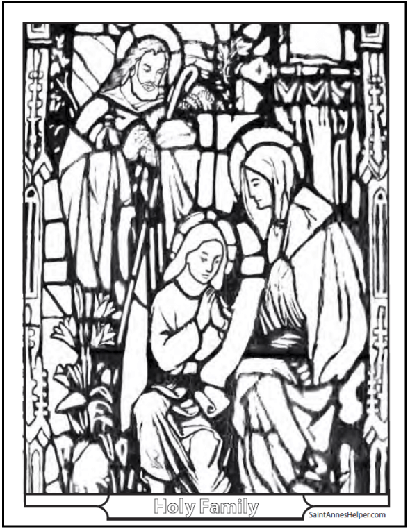 Printable Bible Story Coloring Page: Stained Glass The Holy Family - Jesus, Mary, and Joseph