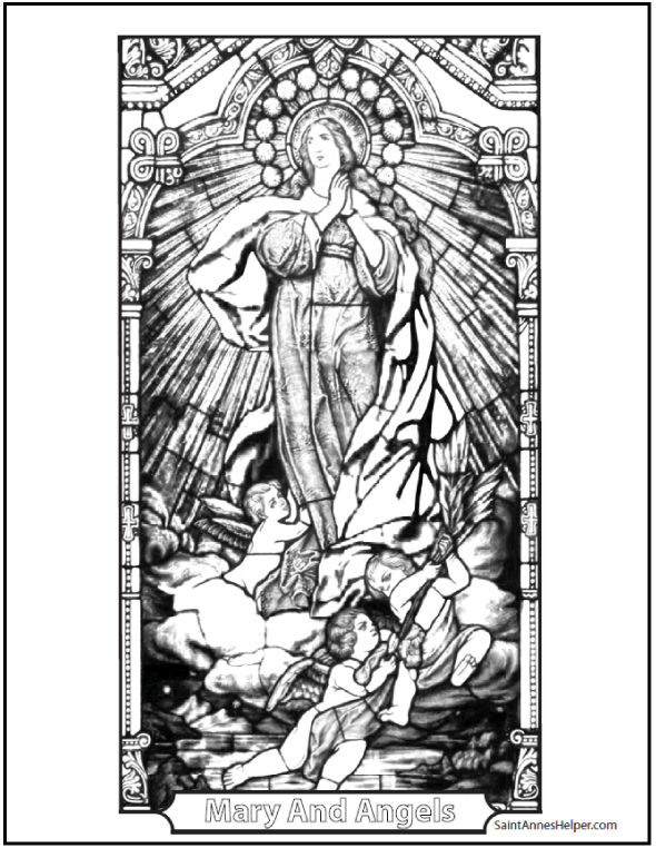 Mary And Angels Stained Glass Coloring Pages
