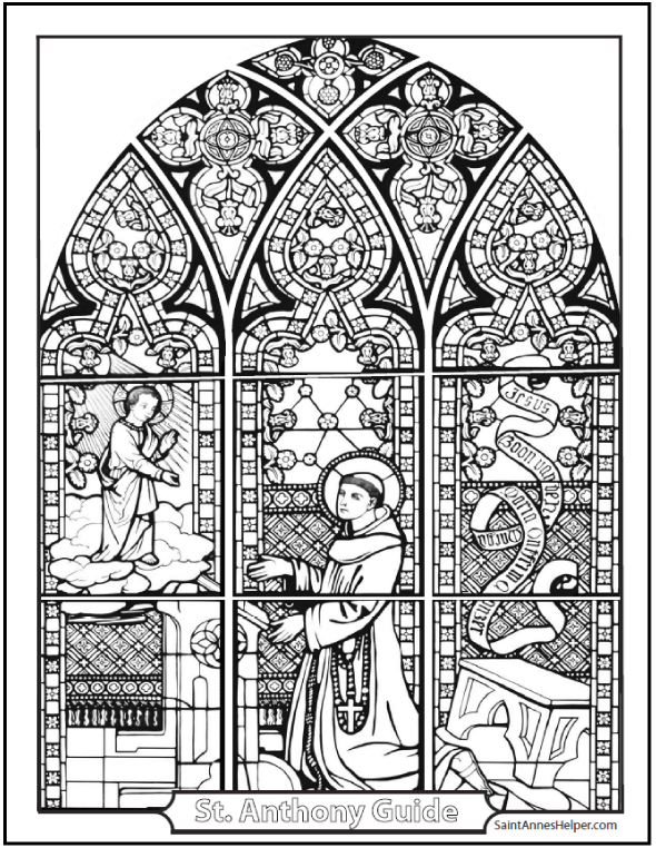 SaintAnnesHelper.com's Stained Glass Coloring Page of Saint Anthony and the Child Jesus is beautiful! #SaintAnthonyColoringPage #StainedGlassColoringPages