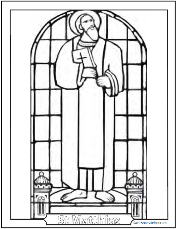 Saint Matthias Stained Glass Coloring Page