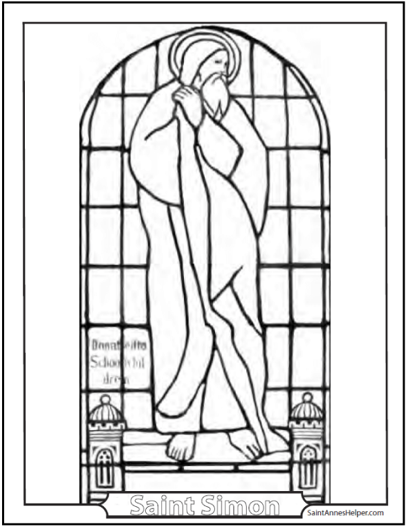 Saint Simon Stained Glass Coloring Page