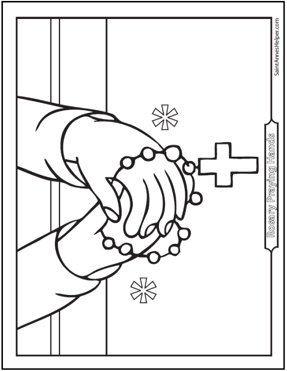 Praying Hands With Rosary Coloring Page