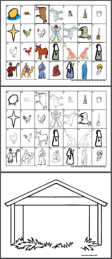Three printable Advent calendar pages.  ❤+❤ See SaintAnnesHelper.com Thank you for sharing! :-) #SaintAnnesHelper #CatholicHomeschool #CatholicCatechism #CatholicColoringPages #Advent #AdventCalendar