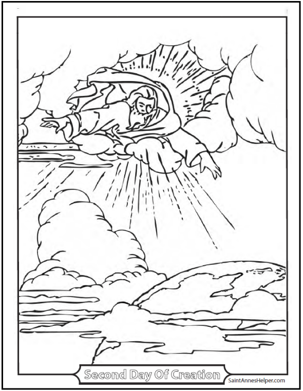 Second Day of Creation coloring page: Awesome picture of God the Father over the earth.