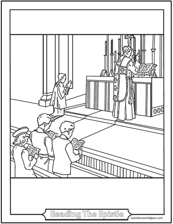 Priest Reading the Missal coloring page.