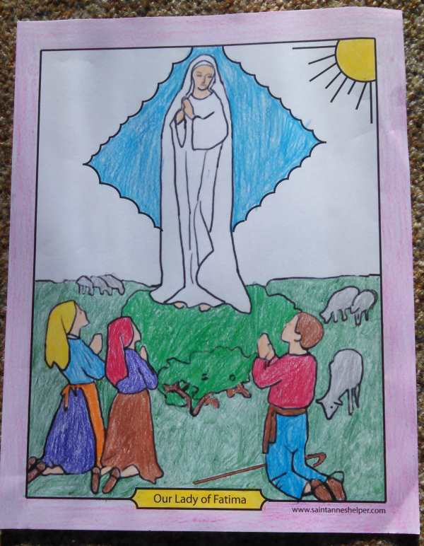 Our Lady of Fatima coloring page with the three children and Fatima Prayers.