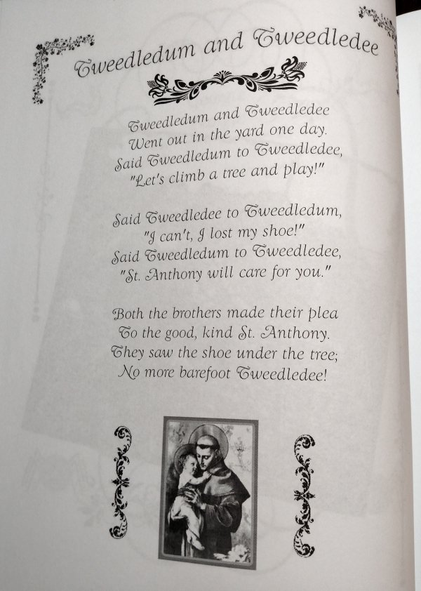 Catholic Mother Goose Nursery Rhyme about Tweedledum and Tweedledee who ask for Saint Anthony's help.