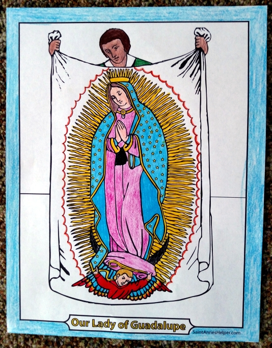 Our Lady of Guadalupe Picture of Juan Diego's Tilma with the miraculous image.