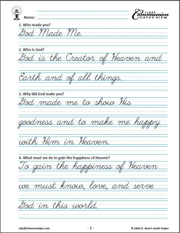 Saint Anne's Helper Cursive First Communion Copybook