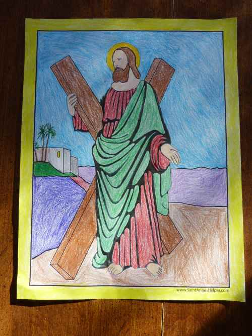 Printable Saint Andrew Apostle Coloring Page, worksheet, and novena prayer.