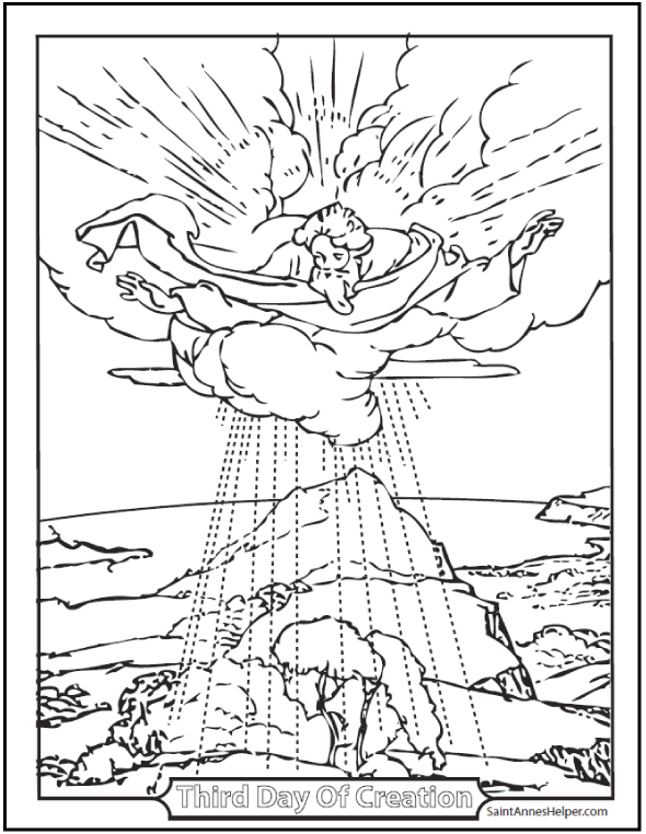Third Day of Creation Coloring Sheet: Shows God over the earth with shrubs and trees.