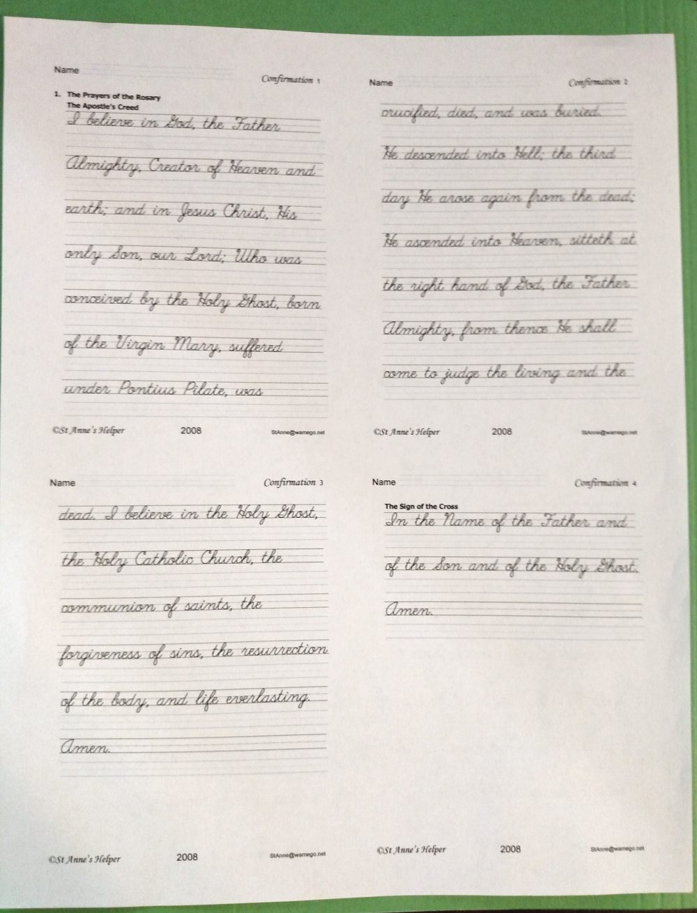 Confirmation Worksheet: Small font for elegant handwriting.