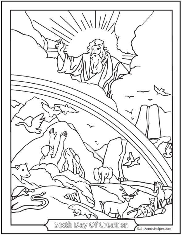 I AM The Lord Thy God Ten Commandments Coloring: Sixth Day Of Creation
