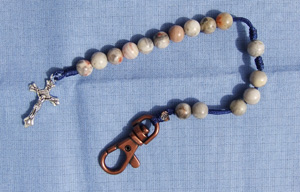 Gray Agate Stone Rosary Beads With Blue Cord