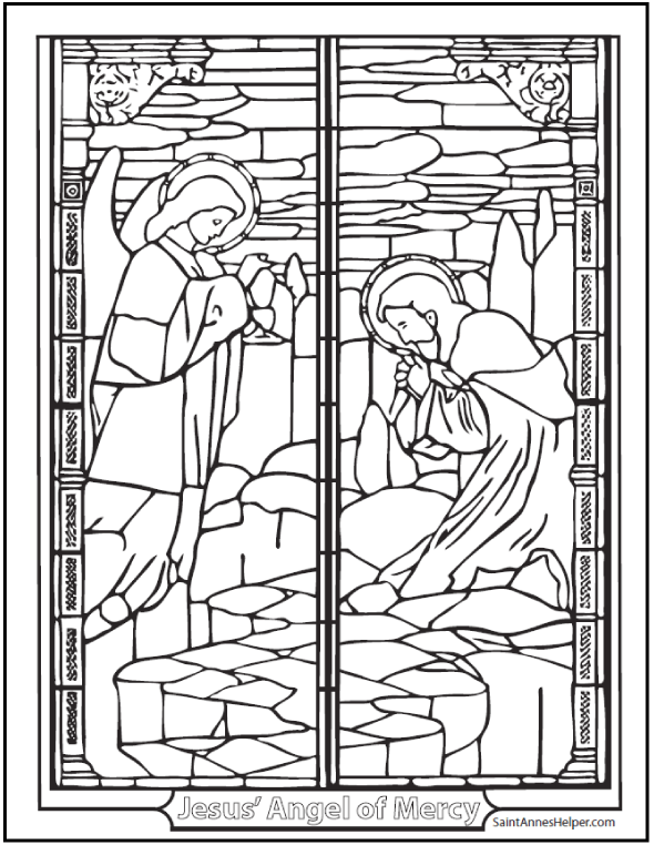 Agony in the Garden Coloring Page - Angel of Mercy with Jesus kneeling