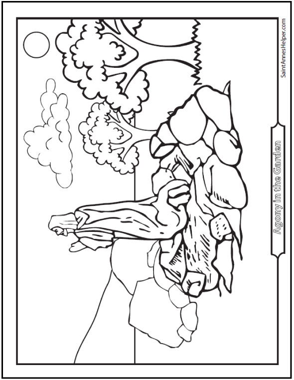 Agony in the Garden Coloring Page. First Sorrowful Mystery.