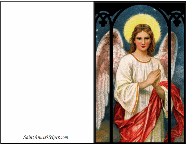 Free Printable Christmas Card: Angel at night, Guardian Angel.