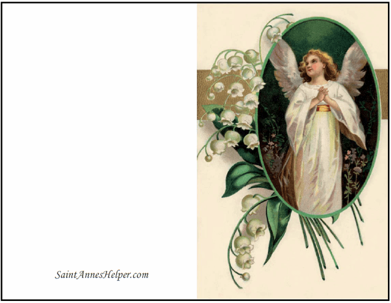 Christmas Printable Cards: Angel and lily flowers.
