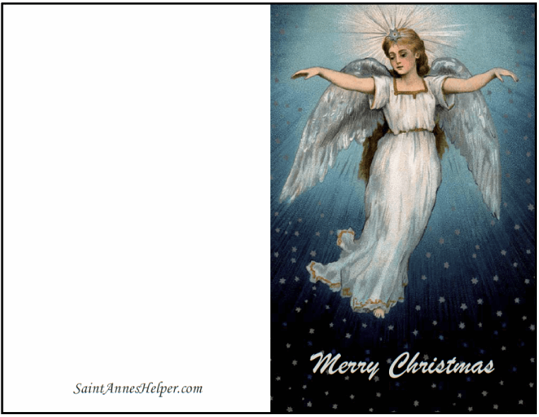 Printable Christmas Card Templates: Angel On Blue Sky