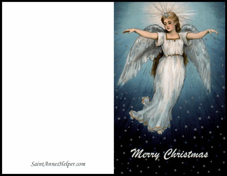 Printable Christmas Card Templates: Angel On Blue Sky