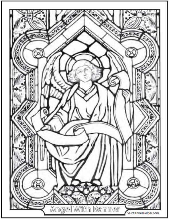 Angel Coloring Page: stained glass angel with banner