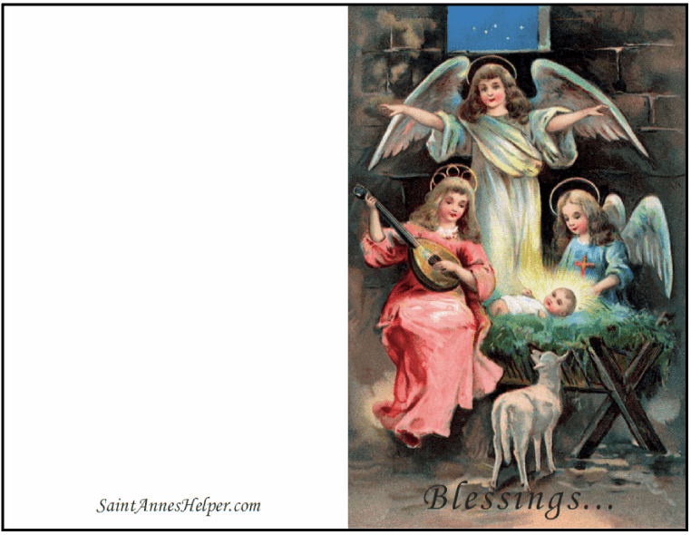 Printable Religious Christmas Cards: Angels Adoring Baby Jesus, Christmas Blessings!