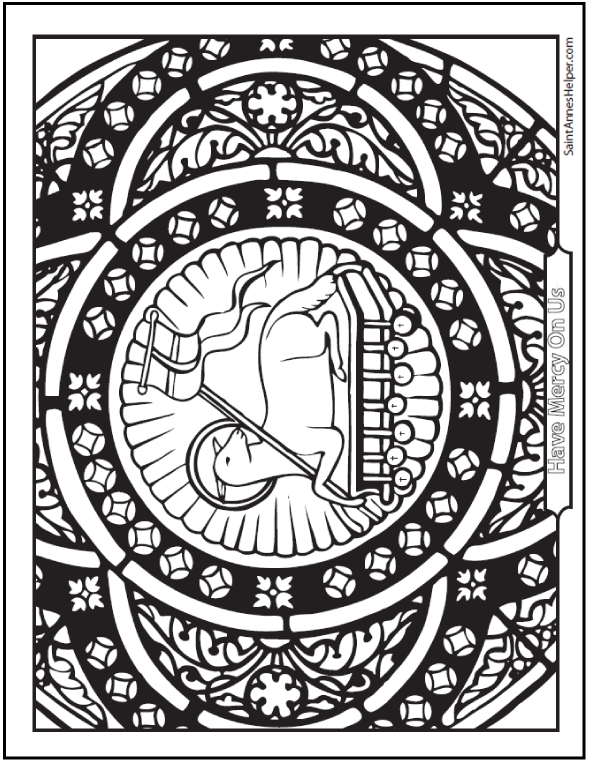 Stained Glass Agnus Dei First Holy Communion Coloring Page