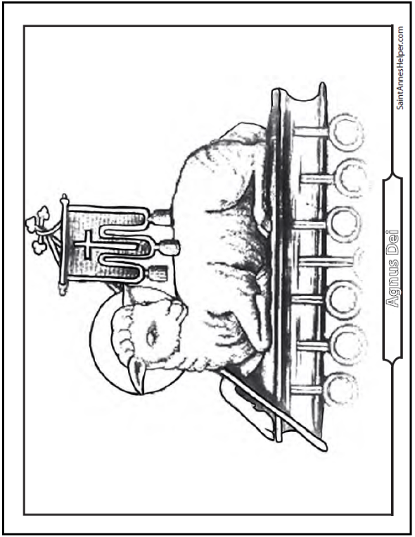 Agnus Dei Coloring Page: Lamb of God with Book of Life, staff and banner.