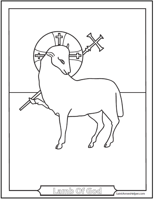 Religious Easter Coloring Page: Lamb of God, have mercy on us. Halo and Cross.