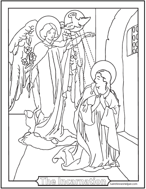 Incarnation Rosary Coloring Page - The angel declared unto Mary. First Joyful Mystery of the Rosary.