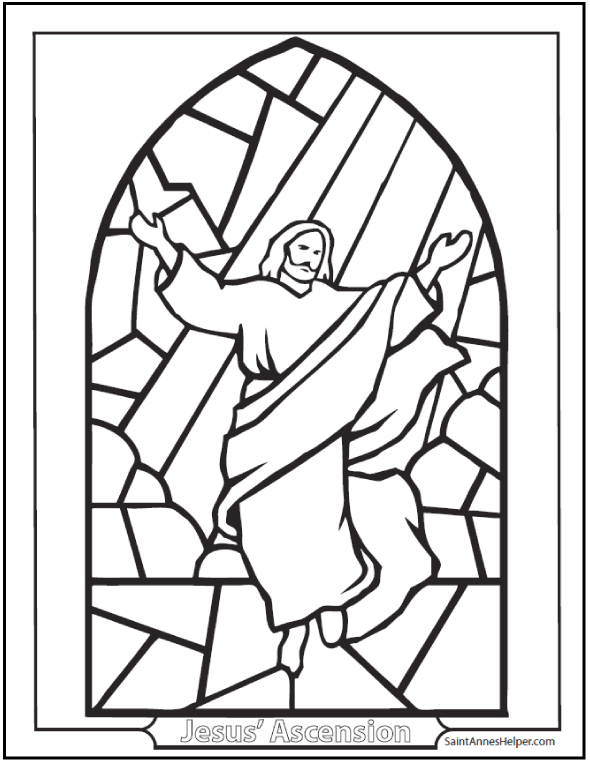 Ascension Coloring Page: Stained glass window of Jesus ascending into Heaven.